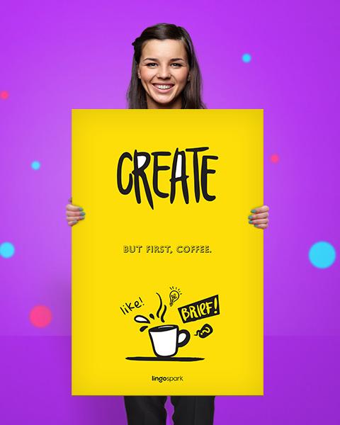 תמונת השראה למשרד - Create, but first, coffee