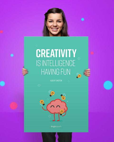 תמונת השראה למשרד - Creativity is intelligence having fun
