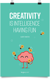 תמונת השראה למשרד - Creativity is intelligence having fun
